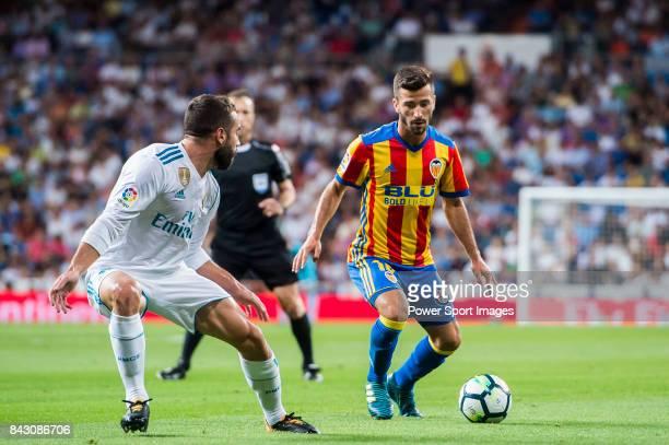 Jose Luis Gaya Pena of Valencia CF in action during their La Liga 201718 match between Real Madrid and Valencia CF at the Estadio Santiago Bernabeu...