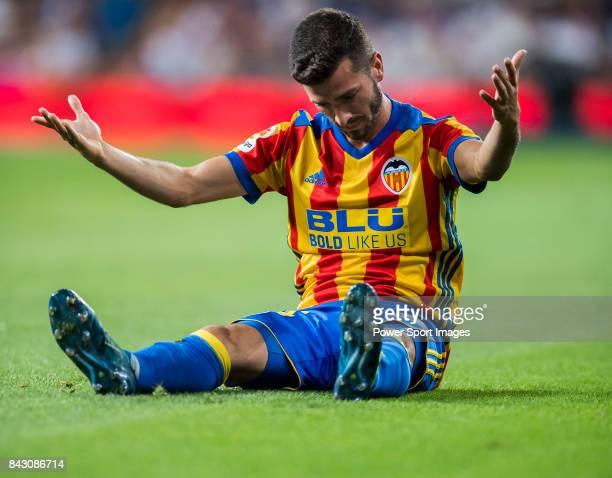 Jose Luis Gaya Pena of Valencia CF reacts during their La Liga 201718 match between Real Madrid and Valencia CF at the Estadio Santiago Bernabeu on...