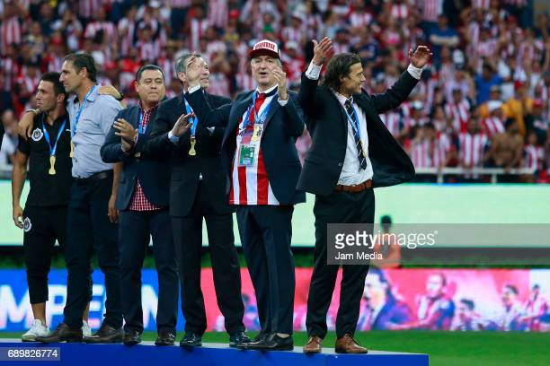 Jose Luis Higuera Jorge Vergara and Matias Almeyda coach of Chivas celebrate the championship after winning the Final second leg match between Chivas...