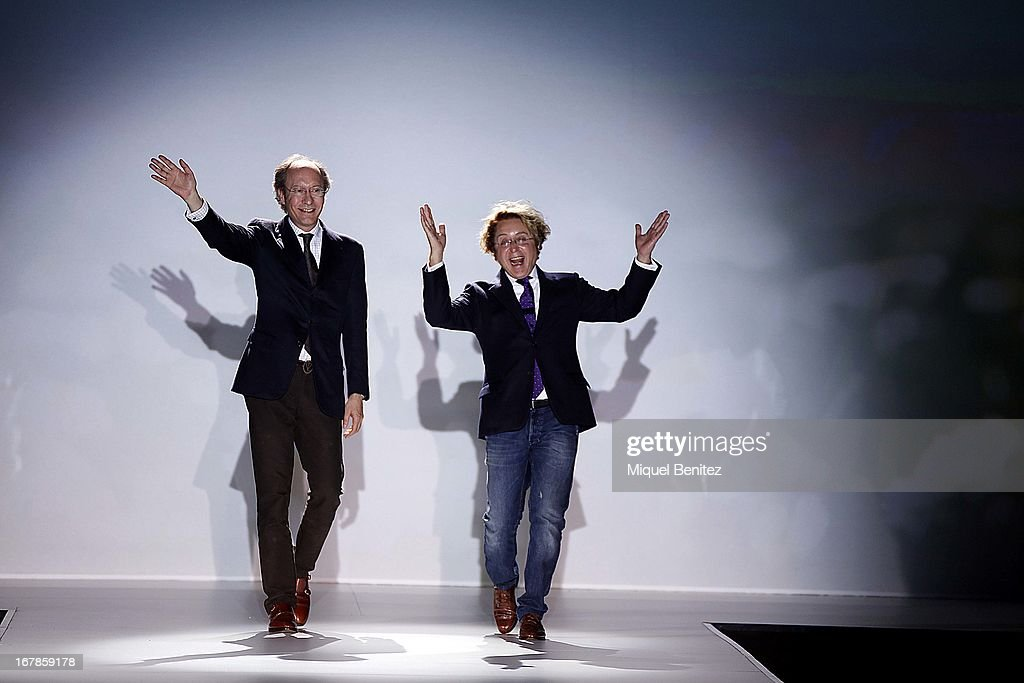 Jose Luis Medina del Corral and Jose Victor Rodriguez Caro walk the runway during the Victorio & Lucchino bridal collection at the Barcelona Bridal Week 2013 on May 1, 2013 in Barcelona, Spain.