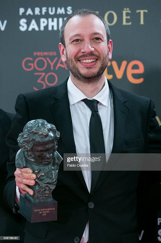 Jose Luis Montesinos holds the award for Best Spanish Short Film live Action award during the 30th edition of the Goya Cinema Awards at Madrid Marriott Auditorium on February 6, 2016 in Madrid, Spain.