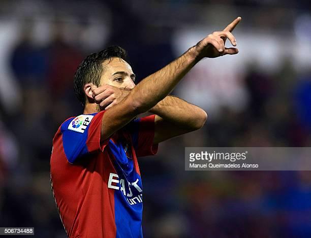 Jose luis Morales of Levante celebrates scoring his team's third goal during the La Liga match between Levante UD and UD Las Palmas at Ciutat de...