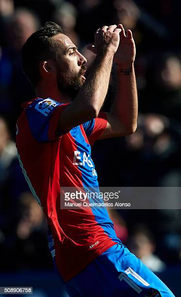 Jose luis Morales of Levante reacts as he fails to score during the La Liga match between Levante UD and FC Barcelona at Ciutat de Valencia on...