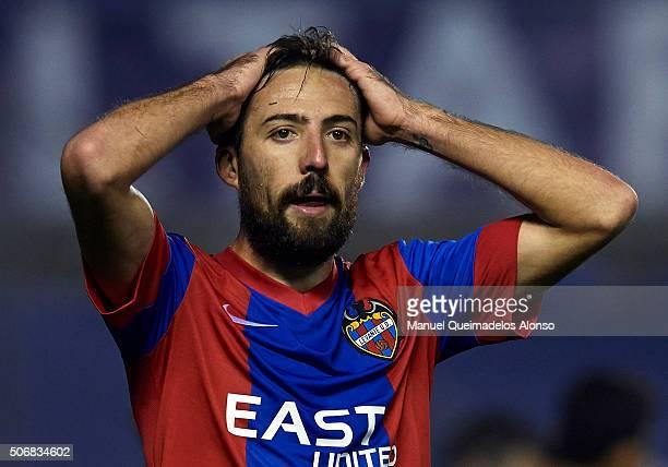 Jose luis Morales of Levante reacts during the La Liga match between Levante UD and UD Las Palmas at Ciutat de Valencia Stadium on January 25 2016 in...