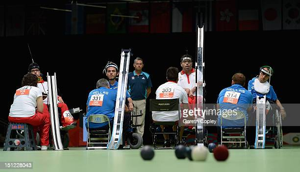 Jose Macedo of Portugal plays a shot during the Mixed Pairs Boccia BC3 gold medal final on day 6 of the London 2012 Paralympic Games at ExCel on...
