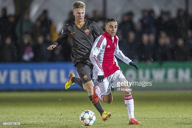 Jose Machin Dicombo of AS Roma Abdelhak Nouri of Ajax during the 1/8 final Europa Youth League match between Ajax U19 and AS Roma U19 on February 24...