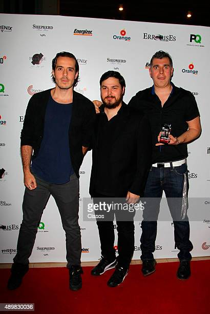 Jose Madero Marcelo Treviño Jorge Vazquez of Mexican rock band PXNDX pose for pictures during the red carpet of the Pxndx band musical ErrorisEs at...