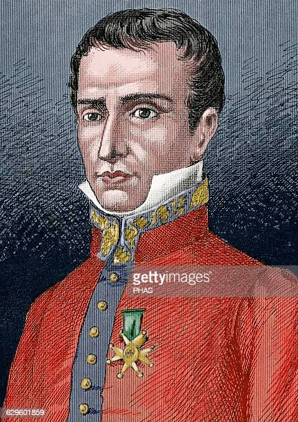 Jose Manso y Sola General and Captain General of the Royal Army of Fernando VII and Elizabeth II Engraving by J Serra Pausas Colored