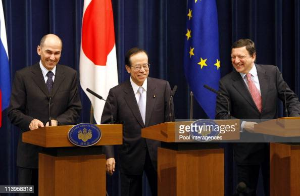 Jose Manuel Barroso Janez Jansa and Yasuo Fukuda before the EUJapan summit meeting at the premier's residence in Tokyo Japan on April 23 2008European...