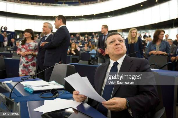 Jose Manuel Barroso Presdident of the European Commission at his seat in the plenary of the European Parliament in Strasbourg on July 02 2014 in...