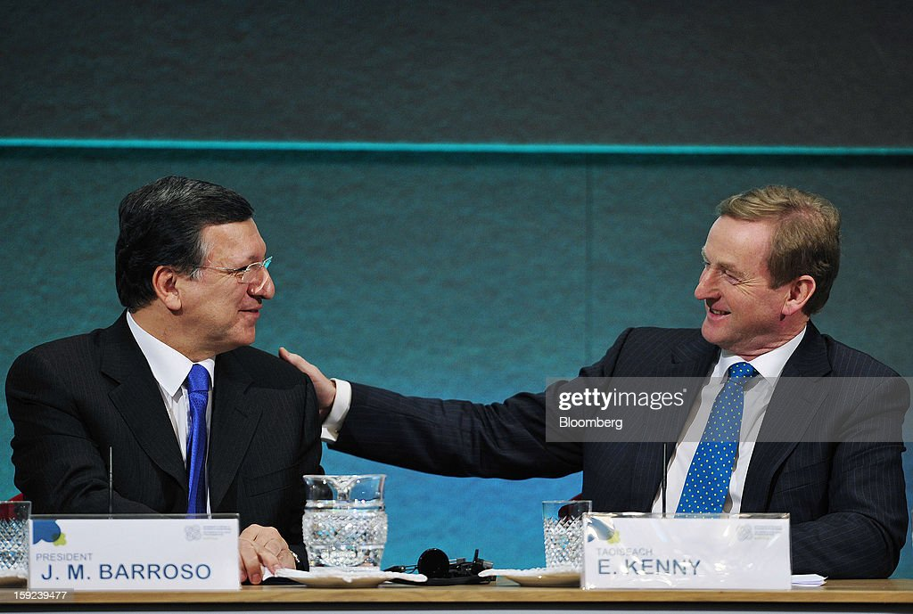 Jose Manuel Barroso, president of the European Commission, left, and Enda Kenny, Ireland's prime minister, react during a joint news conference at Dublin Castle in Dublin, Ireland, on Thursday, Jan. 10, 2013. Europe needs to tackle slow growth and high unemployment after laying concerns about the euro's survival to rest, Barroso said. Photographer: Aidan Crawley/Bloomberg via Getty Images