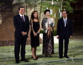 Jose Manuel Barroso president of the European Commission left his wife Margarida Sousa Uva second from left Yasuo Fukuda Japan's prime minister right...