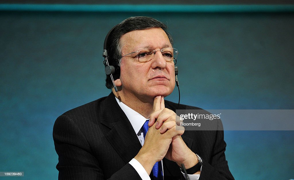 Jose Manuel Barroso, president of the European Commission, pauses during a joint news conference with Enda Kenny, Ireland's prime minister, at Dublin Castle in Dublin, Ireland, on Thursday, Jan. 10, 2013. Europe needs to tackle slow growth and high unemployment after laying concerns about the euro's survival to rest, Barroso said. Photographer: Aidan Crawley/Bloomberg via Getty Images
