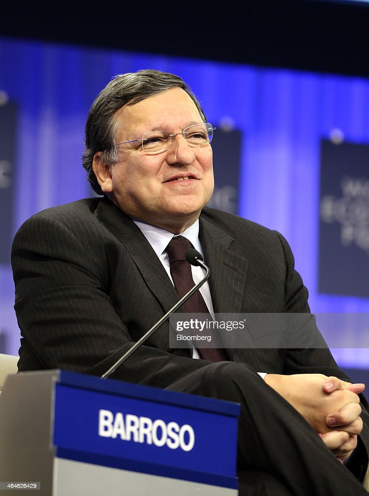 Jose Manuel Barroso, president of the European Commission, speaks during a session on day two of the World Economic Forum (WEF) in Davos, Switzerland, on Thursday, Jan. 23, 2014. World leaders, influential executives, bankers and policy makers attend the 44th annual meeting of the World Economic Forum in Davos, the five day event runs from Jan. 22-25. Photographer: Chris Ratcliffe/Bloomberg via Getty Images