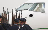Jose Manuel Barroso's pilot takes pictures of the Honour Guards after arrival of the European Commission President and his wife Margarida Sousa Uva...