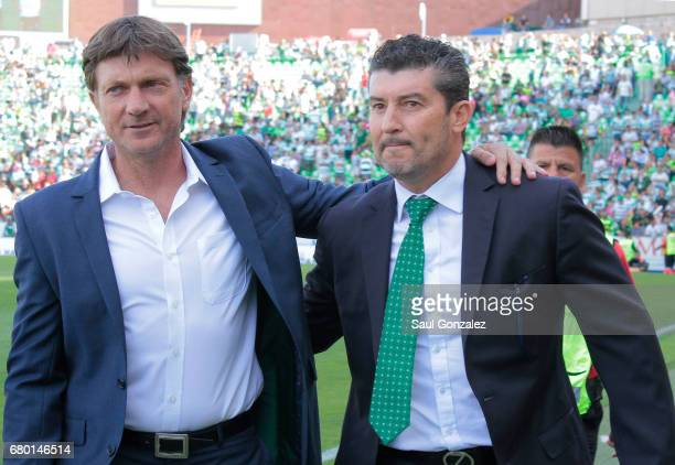 Jose Manuel de la Torre coach of Santos and Hernan Cristante coach of Toluca pose for a photo prior to the 17th round match between Santos Laguna and...