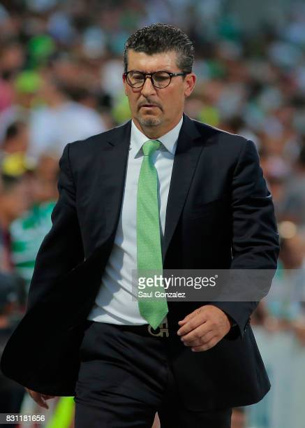 Jose Manuel de la Torre coach of Santos leaves the field after the 4th round match between Santos Laguna and Veracruz as part of the Torneo Apertura...