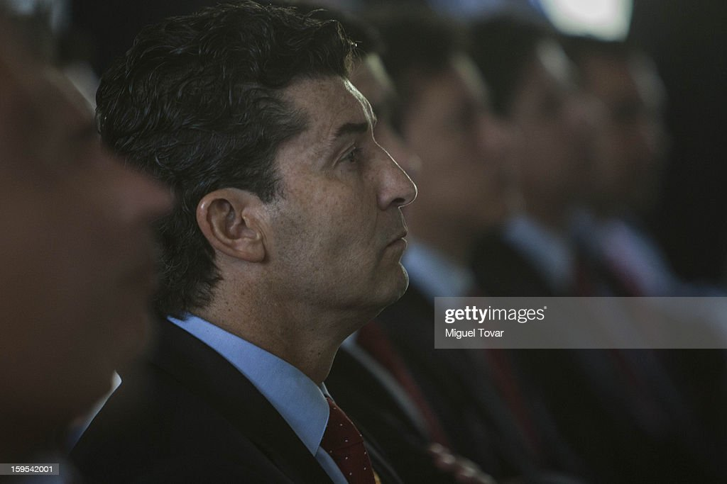 Jose Manuel de la Torre (C) coach of the Mexican soccer team looks on during a press conference at the High Performance Center on January 15, 2013 in Mexico City, Mexico. Tournament list and matches that the national soccer teams will face this year were announced at the press conference.