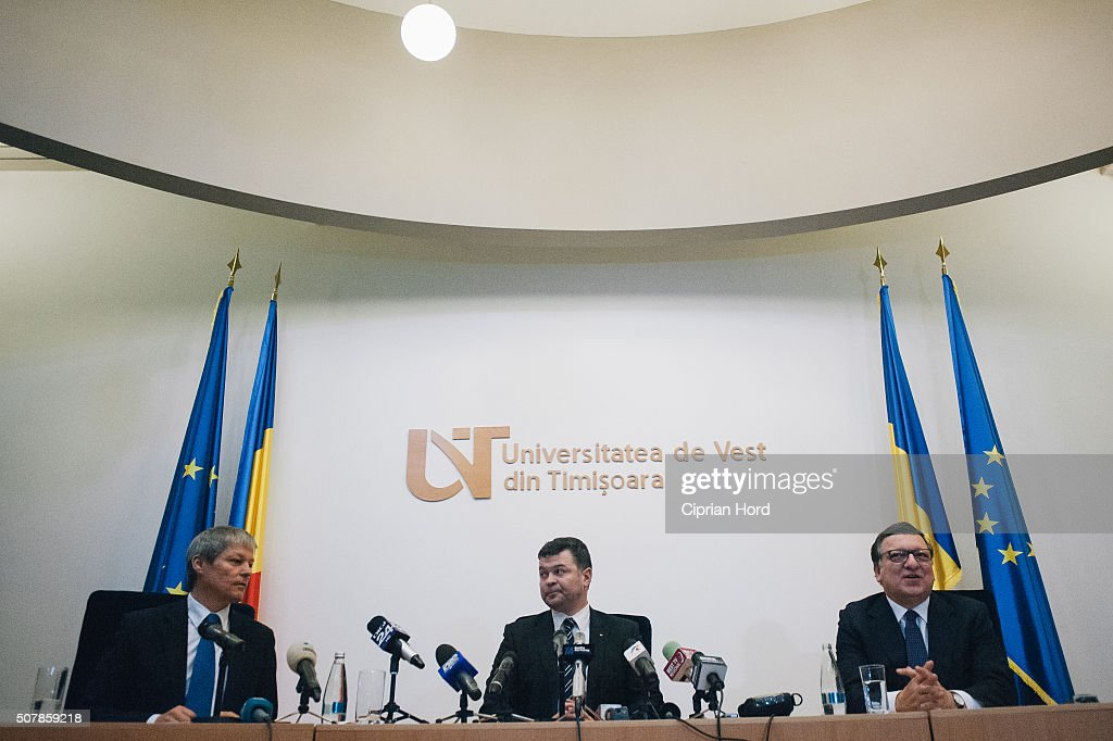 Jose Manuel Durao Barroso (right), former President of the European Commission, holds a press conference, after he received the title of Doctor Honoris Causa from The West University of Timisoara on January 29, 2016 in Timisoara, Romania. During Barroso's mandate as president, Romania joined the European Union, in 2007.