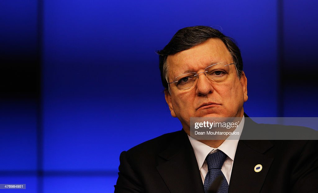 Jose Manuel Durao Barroso, President of the European Commission speaks to the media during a meeting to discuss the situation in Ukraine at the European Union Council Building on March 6, 2014 in Brussels, Belgium. The EU leaders are attending an emergency summit in Brussels to decide how they should respond to the deployment of Russian troops in the Crimea. Russian forces have been on the ground in the Crimea since the change of government in Kiev when President Viktor Yanukovych was forced from power.