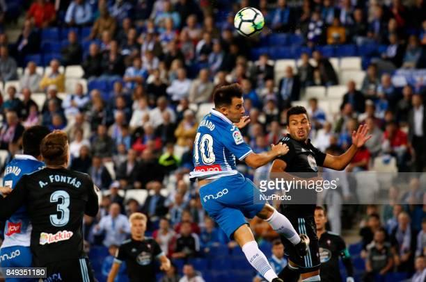 Jose Manuel Juradoand Hugo Mallo during La Liga match between RCD Espanyol v Celta in Barcelona on September 18 2017