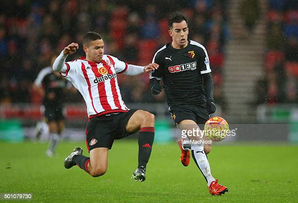 Jose Manuel Jurado of Watford and Jack Rodwell of Sunderland compete for the ball during the Barclays Premier League match between Sunderland and...