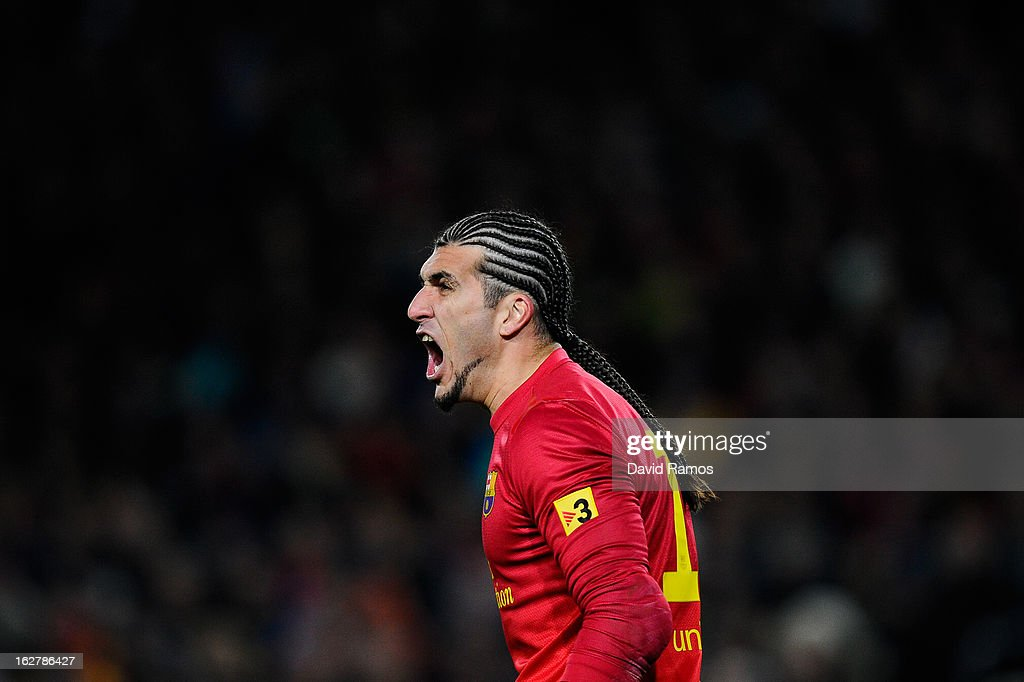<a gi-track='captionPersonalityLinkClicked' href=/galleries/search?phrase=Jose+Manuel+Pinto&family=editorial&specificpeople=708358 ng-click='$event.stopPropagation()'>Jose Manuel Pinto</a> of FC Barcelona reacts during the Copa del Rey Semi Final second leg between FC Barcelona and Real Madrid at Camp Nou on February 26, 2013 in Barcelona, Spain.