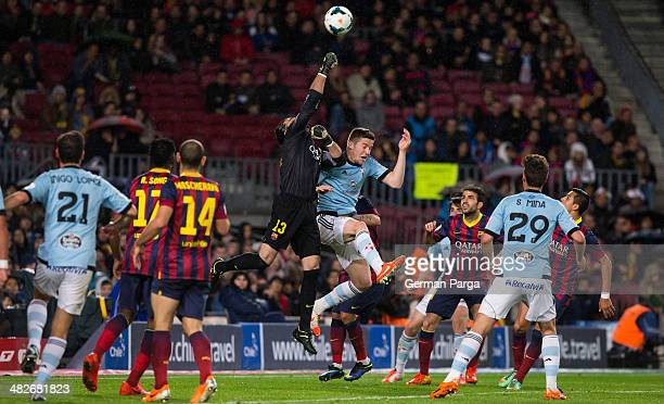 Jose Manuel Pinto of FC Barcelona saves the ball during La Liga match 30 between FC Barcelona and RC Celta at Nou Camp on March 26 2014 in Barcelona...