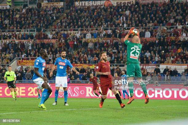 Jose Manuel Reina Daniele De Rossi during the Italian Serie A football match between AS Roma and SSC Napoli at the Olympic Stadium in Rome on october...