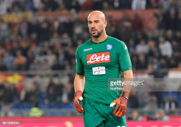 Jose Manuel Reina during the Italian Serie A football match between AS Roma and SSC Napoli at the Olympic Stadium in Rome on october 14 2017