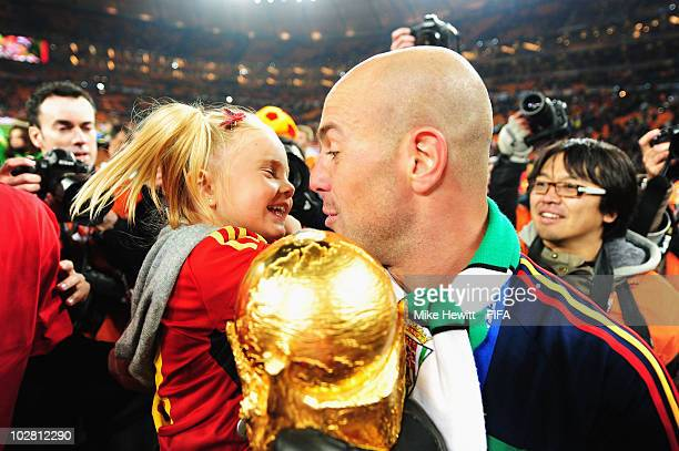 Jose Manuel Reina of Spain and his daughter Alma celebrate after the 2010 FIFA World Cup South Africa Final match between Netherlands and Spain at...