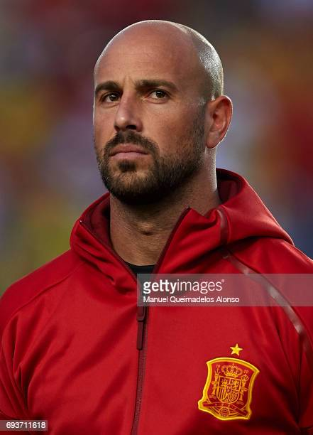 Jose Manuel Reina of Spain stands for their national athem prior to the international friendly match between Spain and Colombia at Nueva Condomina...