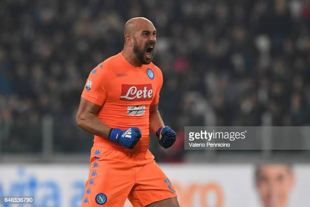 Jose Manuel Reina of SSC Napoli celebrates after his team mate Jose Maria Callejon scored the opening goal during the TIM Cup match between Juventus...