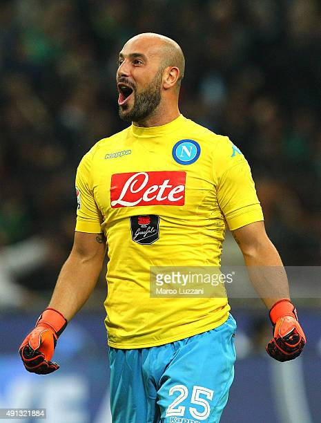 Jose Manuel Reina of SSC Napoli celebrates his teammates goal during the Serie A match between AC Milan and SSC Napoli at Stadio Giuseppe Meazza on...