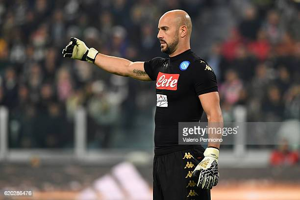 Jose Manuel Reina of SSC Napoli gestures during the Serie A match between Juventus FC and SSC Napoli at Juventus Stadium on October 29 2016 in Turin...