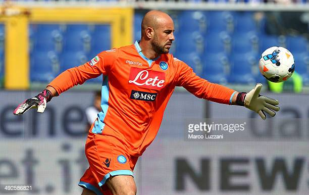 Jose Manuel Reina of SSC Napoli in action during the Serie A match between UC Sampdoria and SSC Napoli at Stadio Luigi Ferraris on May 11 2014 in...