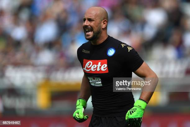 Jose Manuel Reina of SSC Napoli reacts during the Serie A match between FC Torino and SSC Napoli at Stadio Olimpico di Torino on May 14 2017 in Turin...