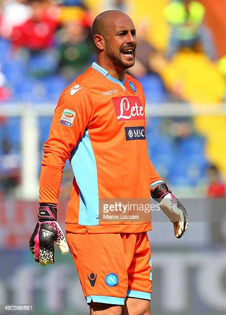 Jose Manuel Reina of SSC Napoli shouts during the Serie A match between UC Sampdoria and SSC Napoli at Stadio Luigi Ferraris on May 11 2014 in Genoa...