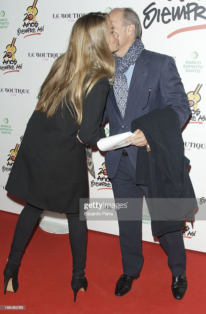 Jose Manuel Soto and Carla Goyanes attend '20 anos Siempre Asi' concert photocall at Rialto theatre on December 17 2012 in Madrid Spain