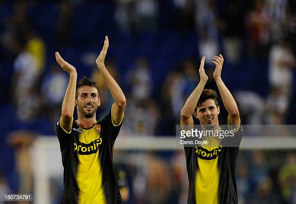Jose Mari and Abraham of Real Zaragoza celebrate after their team beat RCD Espanyol 21 in the La Liga match between RCD Espanyol and Real Zaragoza at...