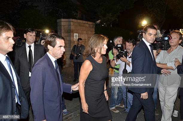 Jose Maria Aznar and Ana Botella attend attends the funeral chapel for Isidoro Alvarez president of El Corte Ingles who died at 79 aged on September...