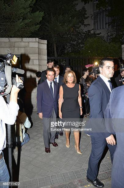 Jose Maria Aznar and Ana Botella attend the funeral chapel for Isidoro Alvarez president of El Corte Ingles who died at 79 aged on September 14 2014...