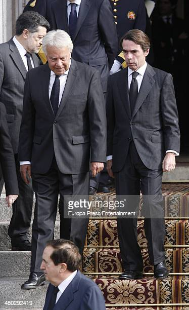 Jose Maria Aznar and Felipe Gonzalez attend the funeral chapel for Adolfo Suarez the prime minister who led Spain to democracy at Sapnish Parliament...