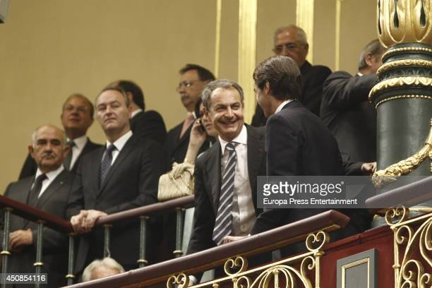Jose Maria Aznar and Jose Luis Rodriguez Zapatero attend Spanish Parliament on June 19 2014 in Madrid Spain