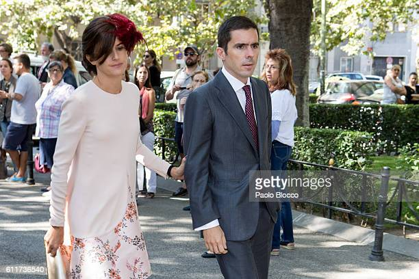 Jose Maria Aznar Jr and his wife Monica Abascal attend the wedding ceremony of Luis Martinez De Irujo and Adriana Marin at Liria Palace on October 1...