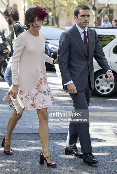 Jose Maria Aznar Jr and Monica Abascal attend the wedding ceremony of Luis Martinez De Irujo and Adriana Marin at Liria Palace on October 1 2016 in...