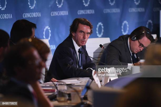 E Jose Maria Aznar Lopez Former President of the Government of Spain and Matthew Swift CoFounder chairman CEO of Concordia speak at The 2017...