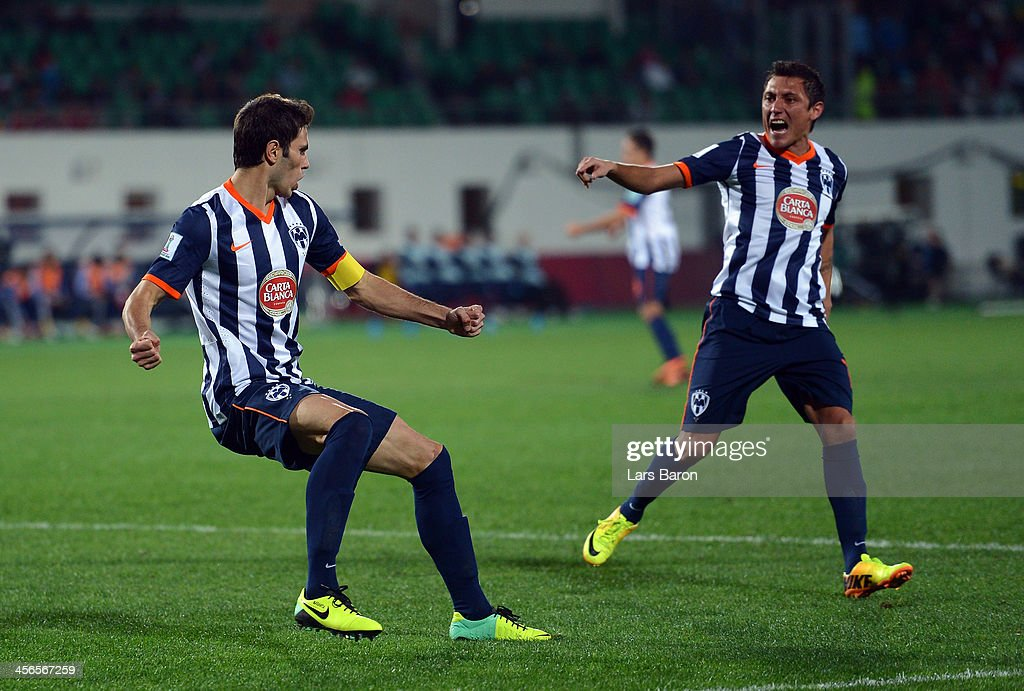 <a gi-track='captionPersonalityLinkClicked' href=/galleries/search?phrase=Jose+Maria+Basanta&family=editorial&specificpeople=5796788 ng-click='$event.stopPropagation()'>Jose Maria Basanta</a> of Monterrey celebrates after scoring his teams first goal during the FIFA Club World Cup Quarterfinal match between Raja Casablanca and CF Monterrey at Agadir Stadium on December 14, 2013 in Agadir, Morocco.