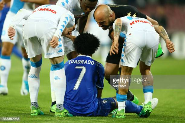 Jose Maria Callejon and Kalidou Koulibaly of Napoli reproaching Juan Cuadrado after a simulation during the TIM Cup match between SSC Napoli and...