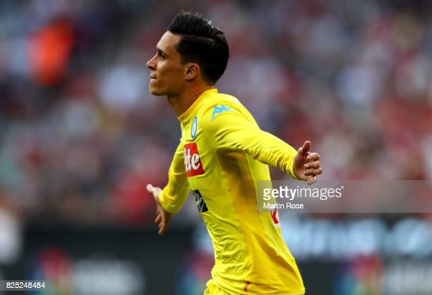 Jose Maria Callejon Bueno of Napoli celebrates after scoring the opening goal during the Audi Cup 2017 match between Club Atletico de Madrid and SSC...